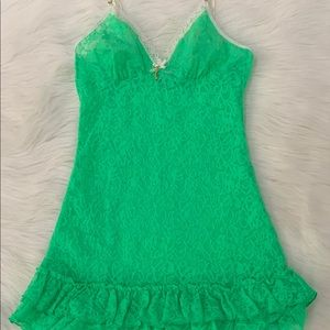 Victoria Secret Bright Green Lace Ruffle Slip Gown